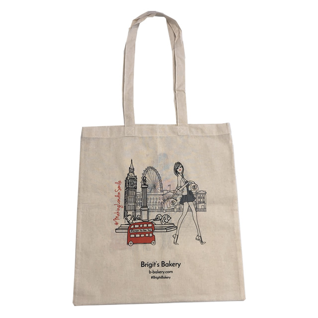 Canvas bag with red print