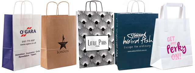 A selection of our paper carrier bags