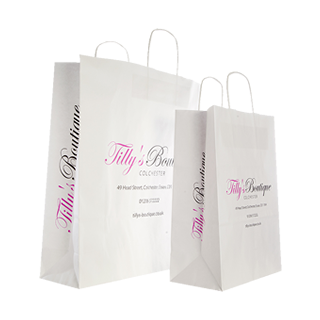 Two Colour Paper Carrier Bags with Logo Sides
