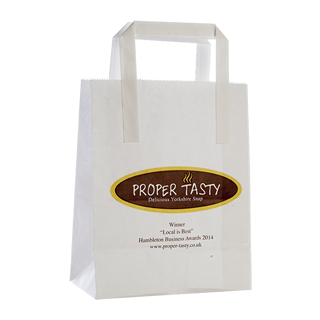 White Kraft Paper Flat Handle Carrier Bag