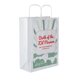 White Kraft Paper Twist Handle Carrier Bag